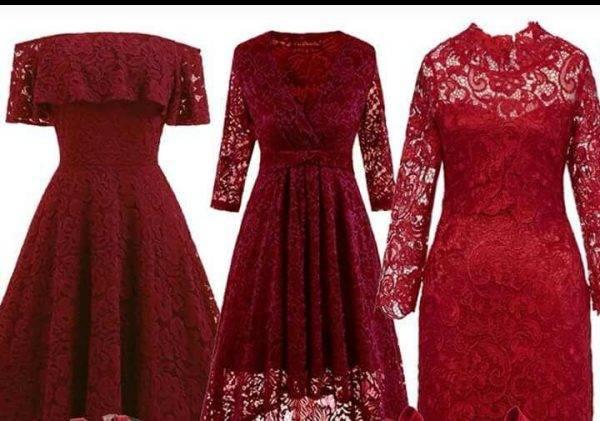Wine/ Burgundy Cord net dresses